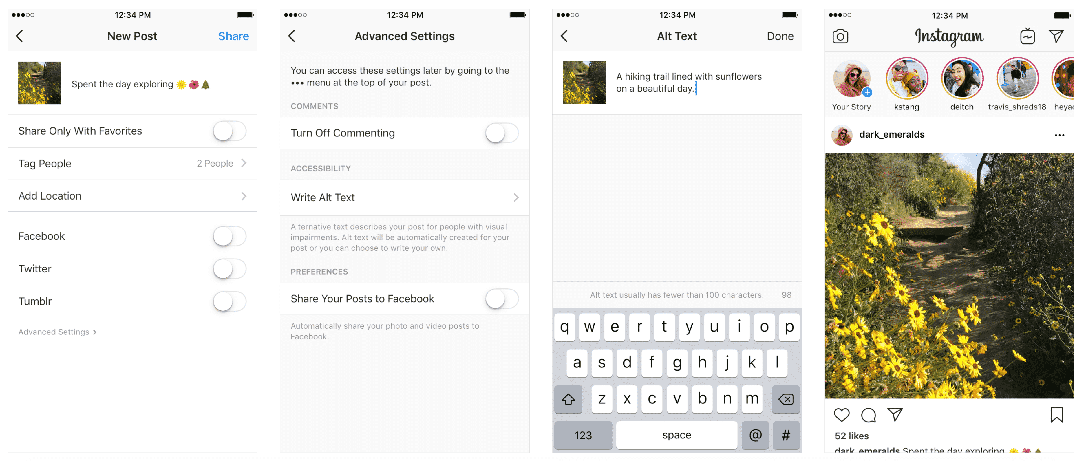 Example of ALT text being added to instagram post